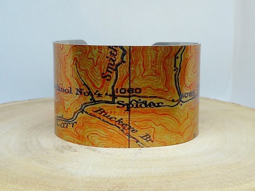 Spider Kentucky Map Cuff Bracelet