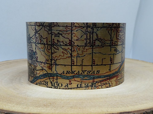 Tulsa to Jenks Oklahoma Map Cuff Bracelet