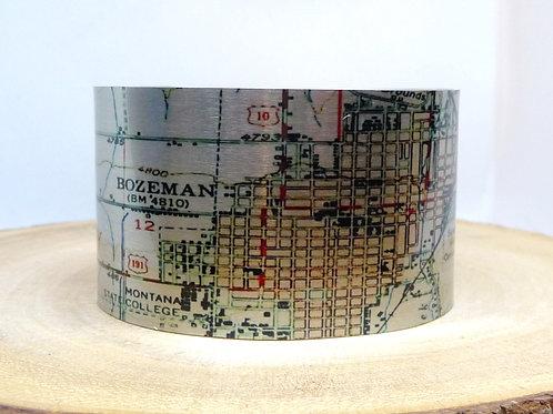Bozeman Montana Map Cuff Bracelet