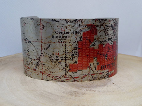 Butte Montana Map Cuff Bracelet