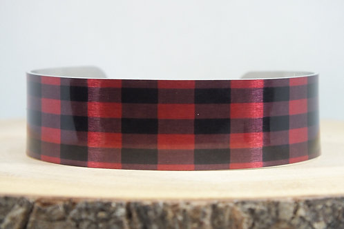 Buffalo Plaid-Tartan Slim Cuff Bracelet
