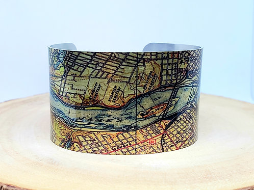 Richmond Virginia Map Cuff Bracelet