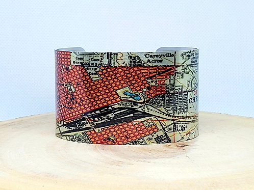 Cheyenne Wyoming Map Cuff Bracelet