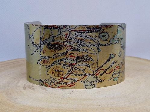 Faxa Fjord Iceland Map Cuff Bracelet