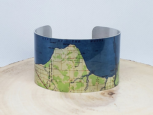 Lake in the Woods Minnesota Map Cuff Bracelet