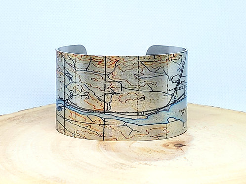 Pend Oreille Lake Idaho Map Cuff Bracelet