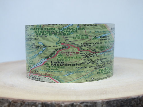 Going to the Sun Road Glacier National Park Montana Map Cuff Bracelet