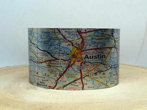 Austin Texas Map Cuff Bracelet