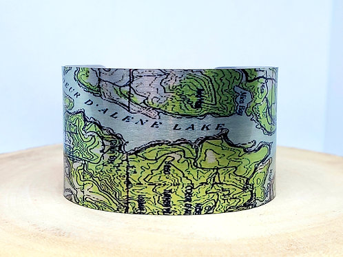 Coeur D' Alene Lake Idaho Map Cuff Bracelet