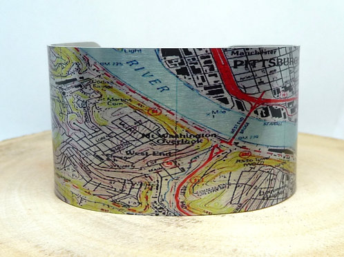 Pittsburgh Pennsylvania Map Cuff Bracelet