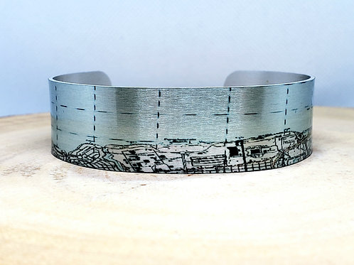 New Orleans Spanish Fort LA Slim Map Cuff Bracelet