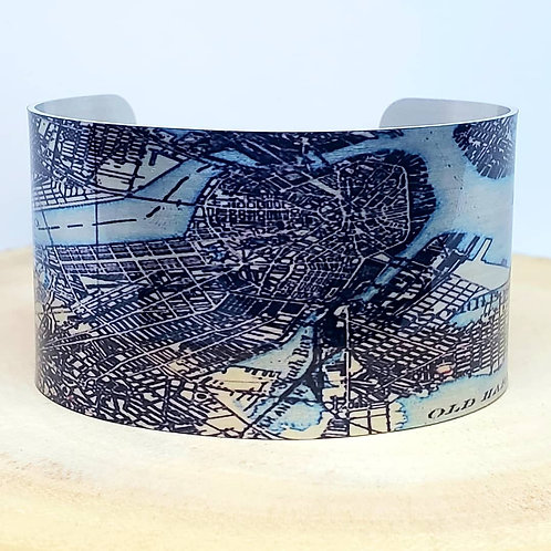 Boston Massachusetts Map Cuff Bracelet