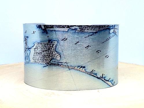 San Diego Bay California Map Cuff Bracelet