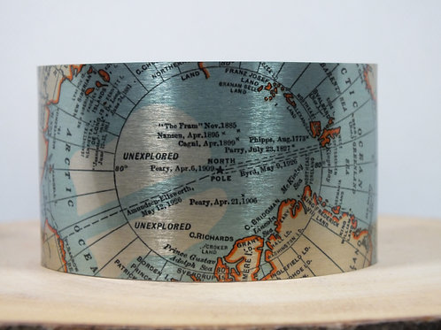North Pole 1931 Map Cuff Bracelet