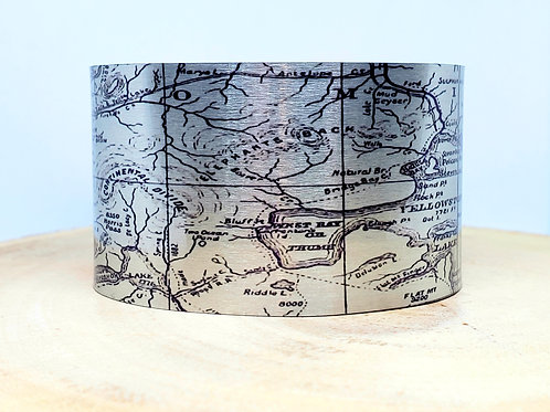 Yellowstone National Park WY 1893 Map Cuff Bracelet