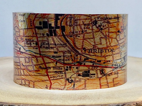 Bristol Connecticut Map Cuff Bracelet