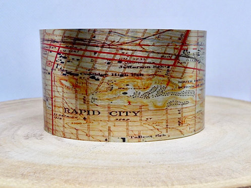Rapid City South Dakota Map Cuff Bracelet