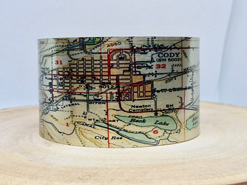 Cody Wyoming Map Cuff Bracelet