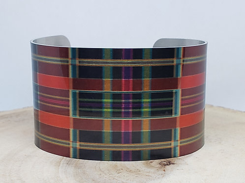 Multi Color Tartan-Plaid Cuff Bracelet