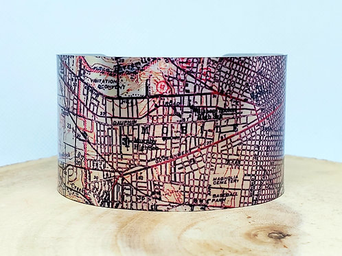 Mobile Alabama Map Cuff Bracelet