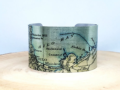 Hilo Hawaii Map Cuff Bracelet