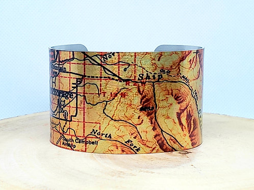Anchorage Alaska Map Cuff Bracelet