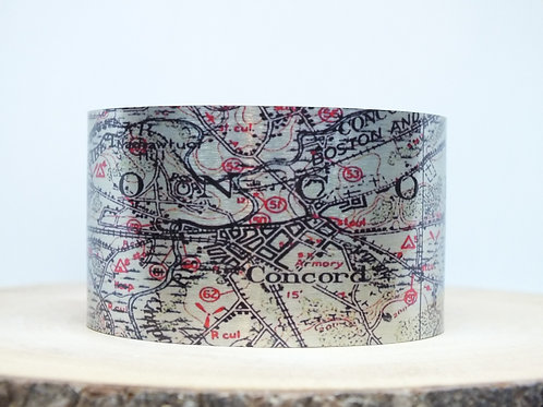 Concord Massachusetts Map Cuff Bracelet