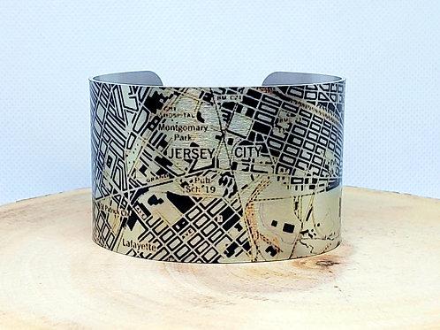 Jersey City New Jersey Map Cuff Bracelet