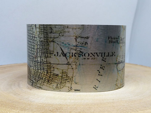 Jacksonville Florida Map Cuff Bracelet
