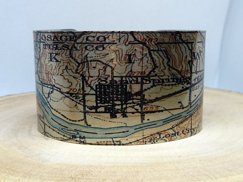 Sand Springs Oklahoma Map Cuff Bracelet