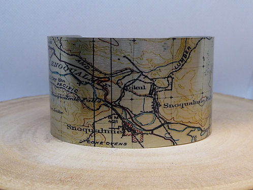 Snoqualmie Washington Map Cuff Bracelet