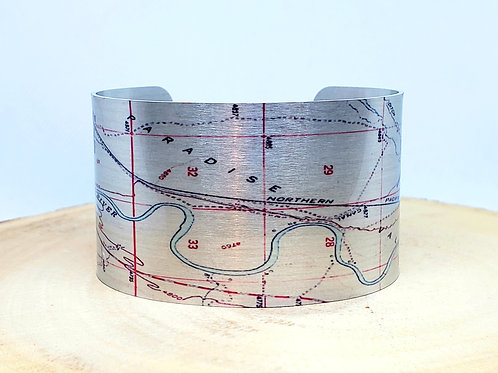 Paradise Valley Montana Map Cuff Bracelet