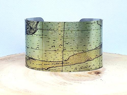 Pensacola Bay Florida Map Cuff Bracelet