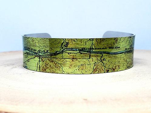 Kootenai River Montana Slim Map Cuff Bracelet