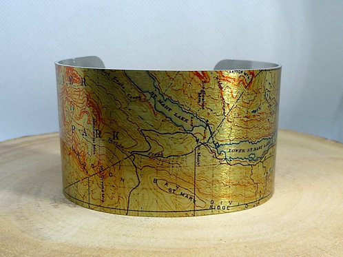 St. Mary Lake Montana Map Cuff Bracelet