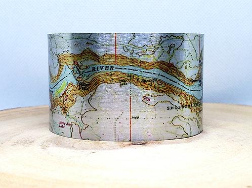 Shoshone Falls-Snake River Idaho Map Cuff Bracelet
