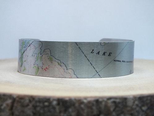 Lake Texoma Oklahoma Slim Map Cuff Bracelet