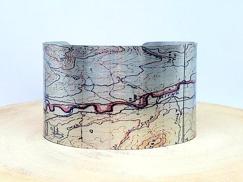 Flathead River Montana Map Cuff Bracelet