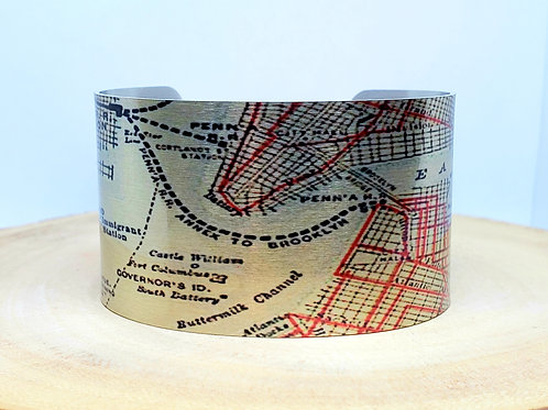 Liberty Island New York Map Cuff Bracelet