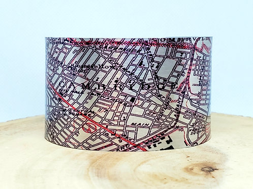 Cambridge Massachusetts Map Cuff Bracelet