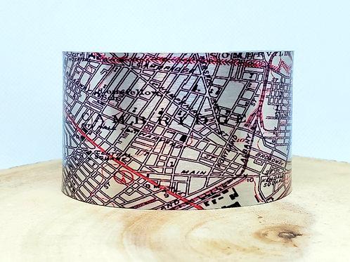 Cambridge Massachusetts Map Cuff Bracelet