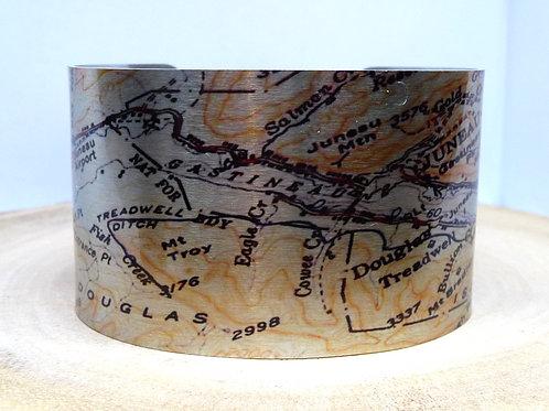 Juneau Alaska Map Cuff Bracelet