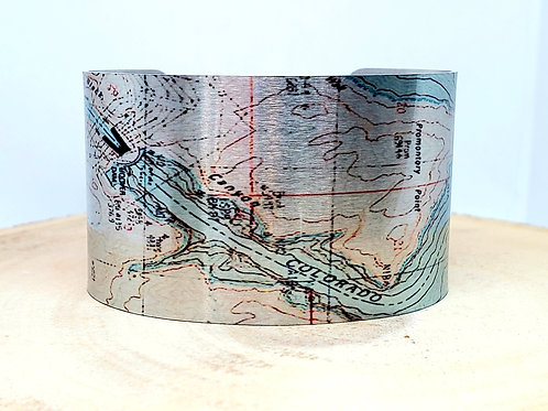 Hoover Dam Colorado River Map Cuff Bracelet