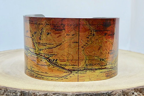 Forest of Atholl Scotland Map Cuff Bracelet