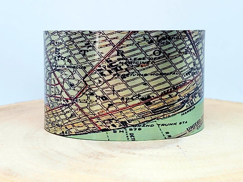 Detroit Michigan Map Cuff Bracelet