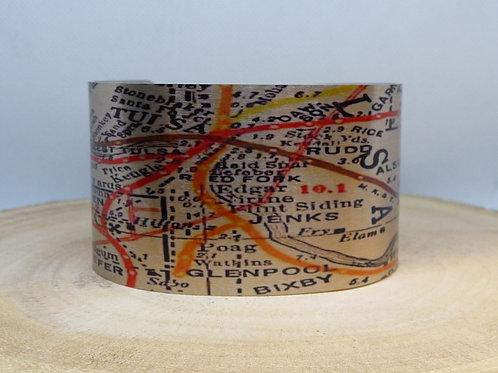 Tulsa Oklahoma 1917 Rail Line Map Cuff Bracelet