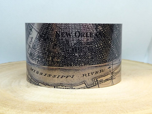 New Orleans Louisiana 1891 Map Cuff Bracelet
