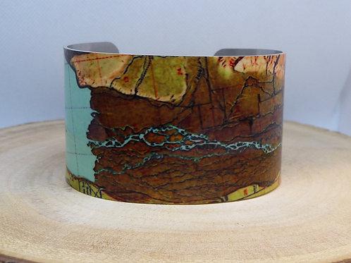 Ennis Lake Montana Map Cuff Bracelet