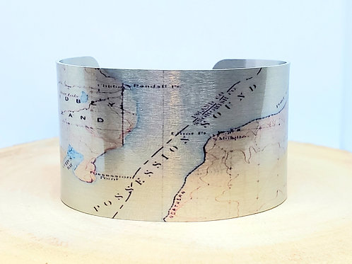 Whidbey Island Washington Map Cuff Bracelet