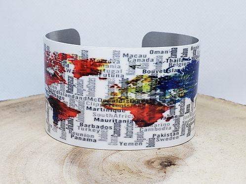 World Map Cuff Bracelet - wording